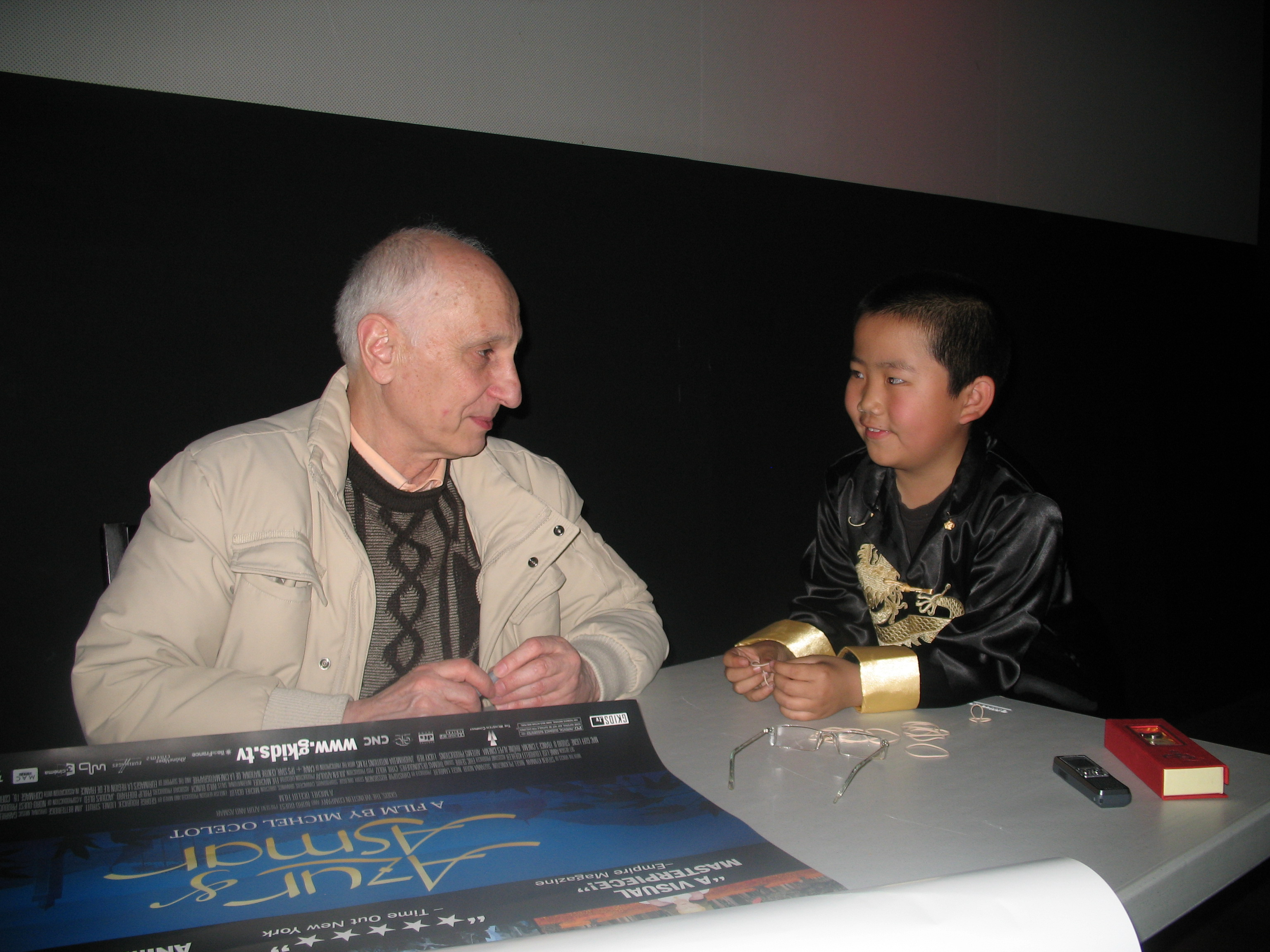 Perry interviewing Director Michel Ocelot 3-4-09.JPG