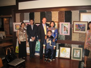 Helen Yuan Quan (Perry's art teacher), Jun Liu (Chinese film delegation head), James Hill (SD filmmaker), Perry Chen and mom Dr. Zhu Shen in front of Perry's art exhibit