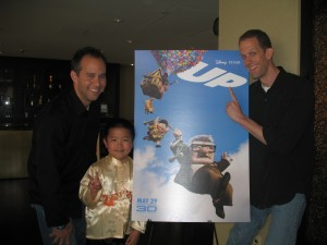 Perry Chen with director Pete Docter (right), producer Jonas Rivera (left) of Up