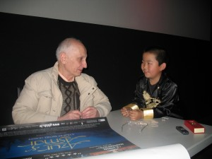 "Perry Chen interviewing director Michel Ocelot of ""Azur & Asmar"" in San Francisco"