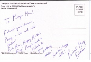 Dr. Galdikas note to Perry Chen & Mom Zhu Shen