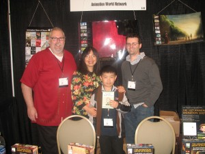 Perry Chen, mom Zhu Shen & AWN publisher Dan Sarto (L) & editor Rick DeMott (R) at CTN AWN booth