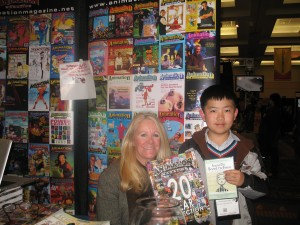 Perry Chen with Animation Magazine publisher Jean Thoren (photo by Zhu Shen)