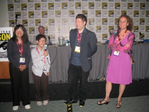 Zhu Shen, Perry Chen, Kevin Sean Michaels, Karina Bessoudo (Toon Boom) at 2012 Comic-Con Panel