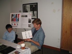 "Perry Chen giving his drawing to ""Paperman"" director John Kahrs (photo by Amy Astley)"