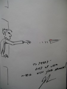 "Original drawing by ""Paperman"" director John Kahrs to Perry Chen at Platform International Animation Festival"