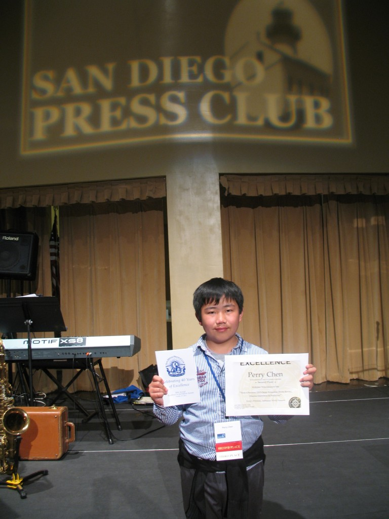 Perry Chen receiving Excellence in Journalism Awards at 2013 SD Press Club Awards (photo by Zhu Shen)