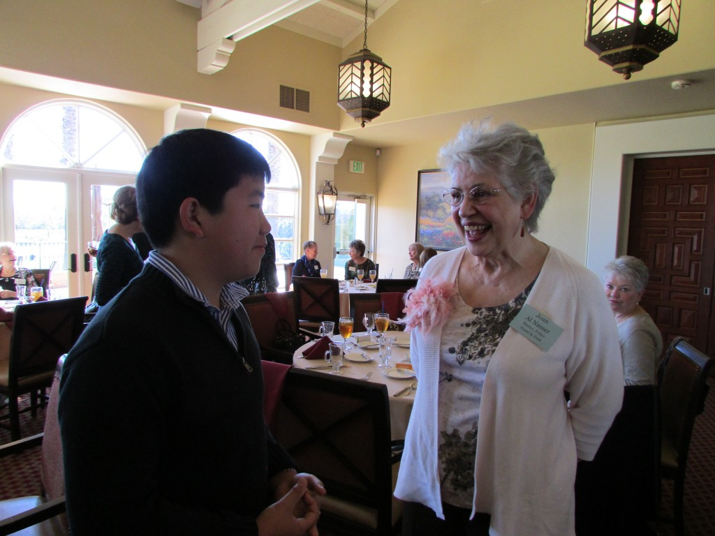 1-15-14 Perry talking to Wednesday Etc. member Joan Al Nasser nice