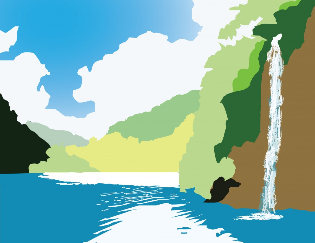 Waterfall Landscape, Digital Art by Perry Chen using Photoshop CS5