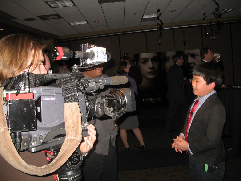 Perry Chen interviewed by ABC 10 News at 2013 Oscar Experience San Diego (photo by Zhu Shen)