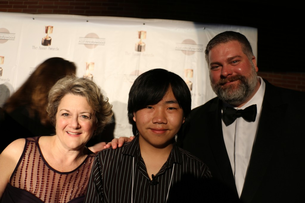 "Perry Chen with ""How to Train Your Dragon 2"" director Dean DeBlois and Producer Bonnie Arnold at 2015 Annie Awards for Animation (photo by Zhu Shen)"