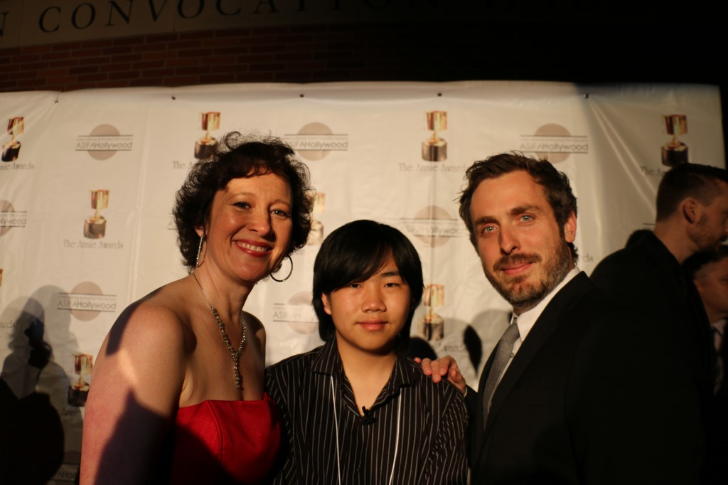 "Perry Chen with Oscar-nominated, Annie-winning animation short ""Feast"" director Patrick Osborne & producer Kristina Reed at 2015 Annie Awards red carpet (photo by Zhu Shen)"