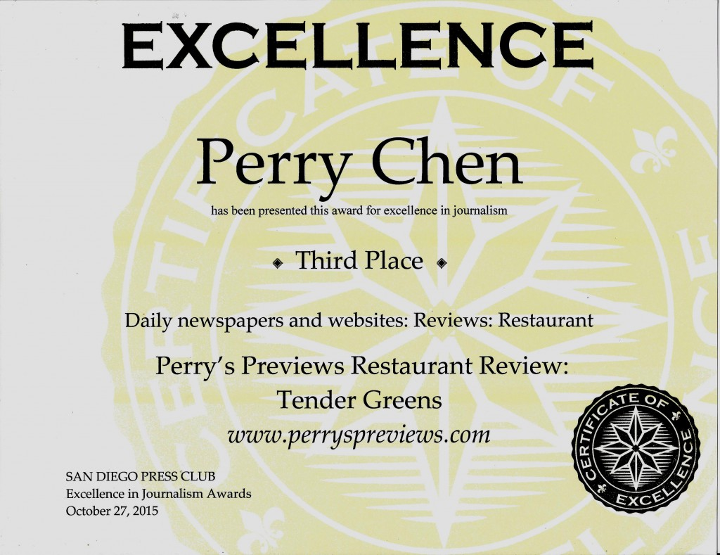 Perry Chen 2015 San Diego Press Club award certificate for his Tender Greens Review