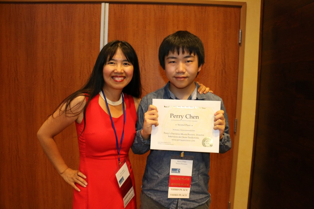Perry Chen with mom/publisher Zhu Shen and their awards at 2015 San Diego Press Club Awards dinner