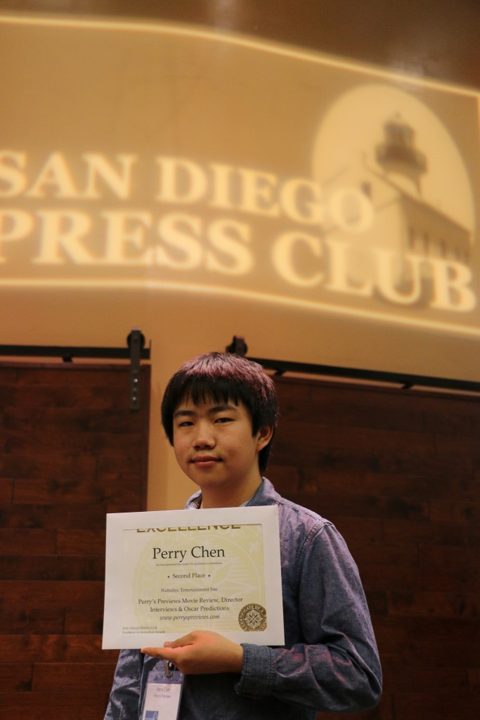 Teen Film & Entertainment Critic Perry Chen holding his awards at 2015 San Diego Press Club Awards Dinner (photo by Zhu Shen)