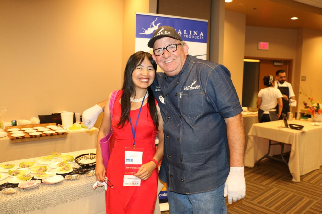 Zhu Shen with Catalina Offshore Products chef at 2015 San Diego Press Club Awards dinner