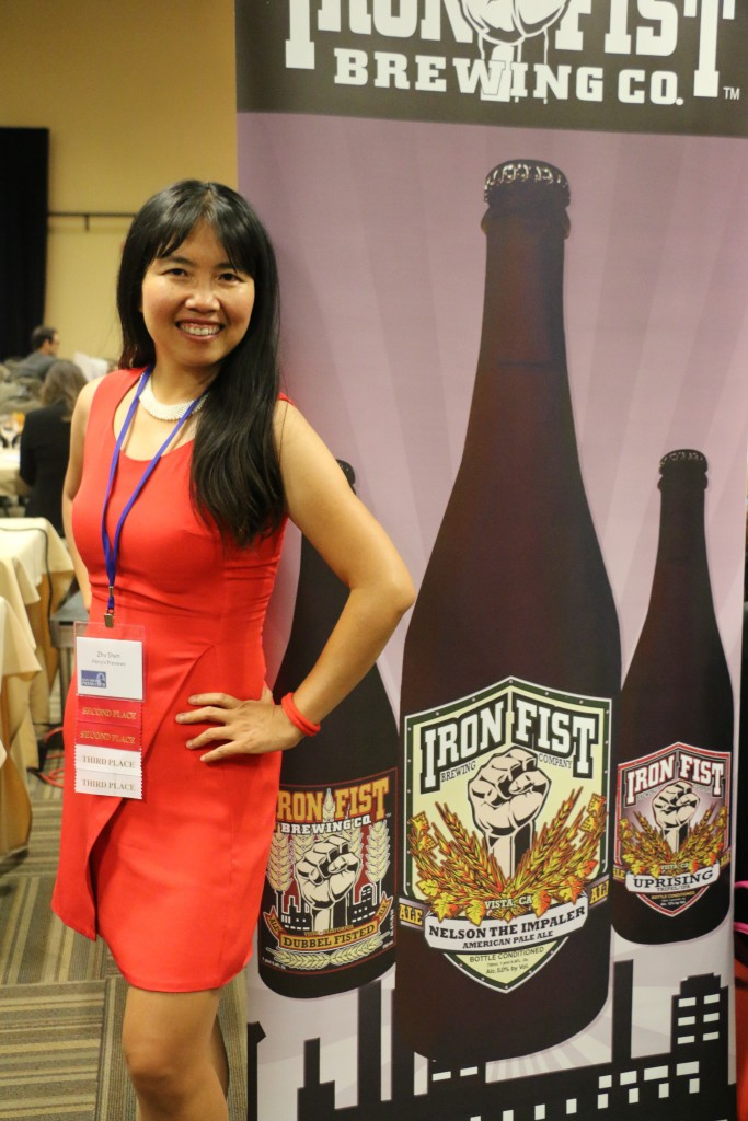 Zhu Shen with beer banner at 2015 San Diego Press Club Awards dinner (photo by Perry Chen)