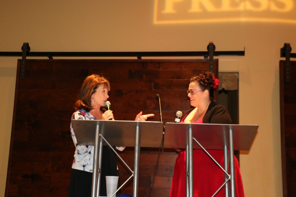 2015 San Diego Press Club Awards emcees Susan Taylor (L) and Barbarella Fokos on stage (photo by Zhu Shen)