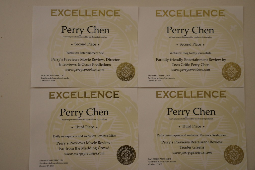 Perry Chen's four 2015 San Diego Press Club awards certificates