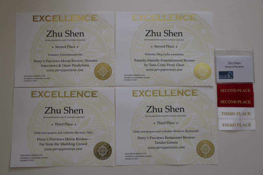 Zhu Shen's 2015 San Diego Press Club Awards Certificates