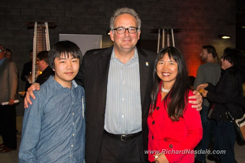 "Perry Chen & Zhu Shen with La Jolla Playhouse Executive Director Michael Rosenberg at ""Indecent"" premiere (photo by Richard Nesdale)"
