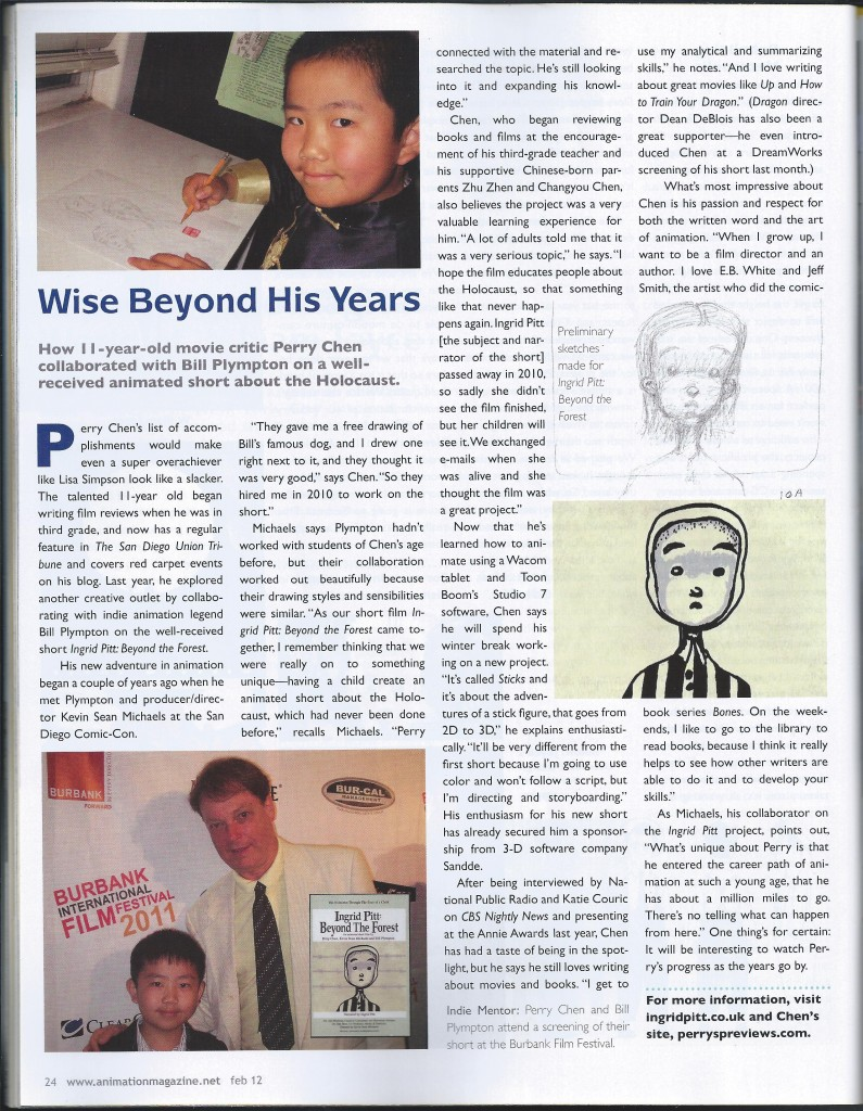 2012 February Animation Magazine Perry S. Chen Feature: Wise Beyond His Years