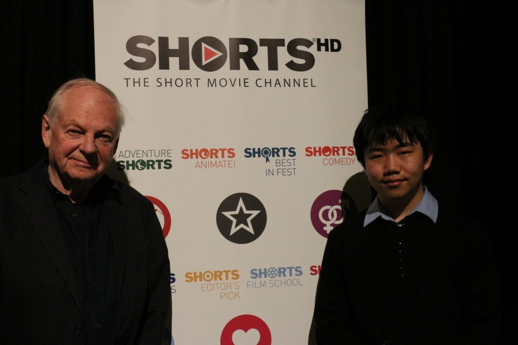 "Perry Chen with Richard Williams ""Prologue"" director at ShortsHD Awards, Feb 27, 2016 (photo by Zhu Shen)"