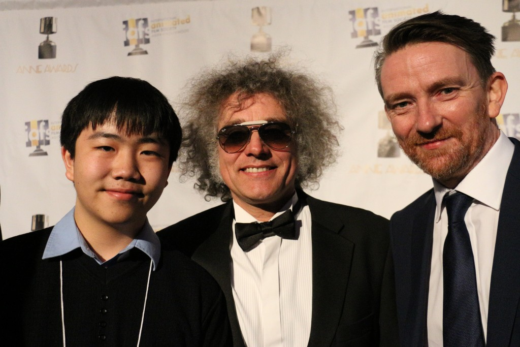 "Perry Chen with Oscar-nominated animation filmmakers from ""Shaun the Sheep Movie"" at 2016 Annie Awards (photo by Zhu Shen)"