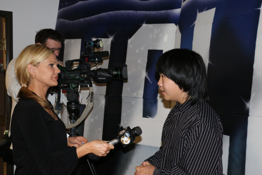 Perry Chen interviewed by ABC 10 News for his Oscar predictions at the 2015 Oscar Night Gala (photo by Zhu Shen)