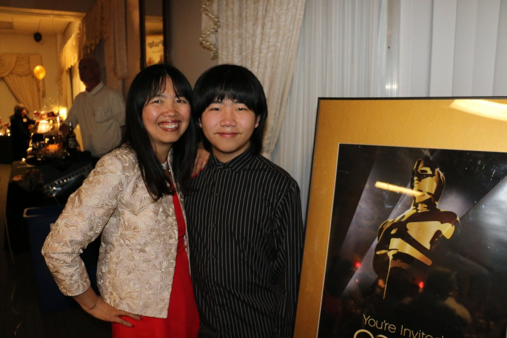 Perry Chen with mom/Producer Dr. Zhu Shen at 2015 Oscar Night Gala fundraiser (photo by Walker Clark)